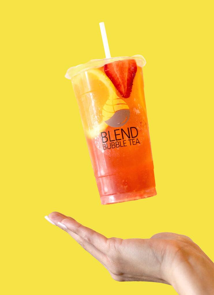 Blend Bubble Tea Summer Drink Being Thrown in Air