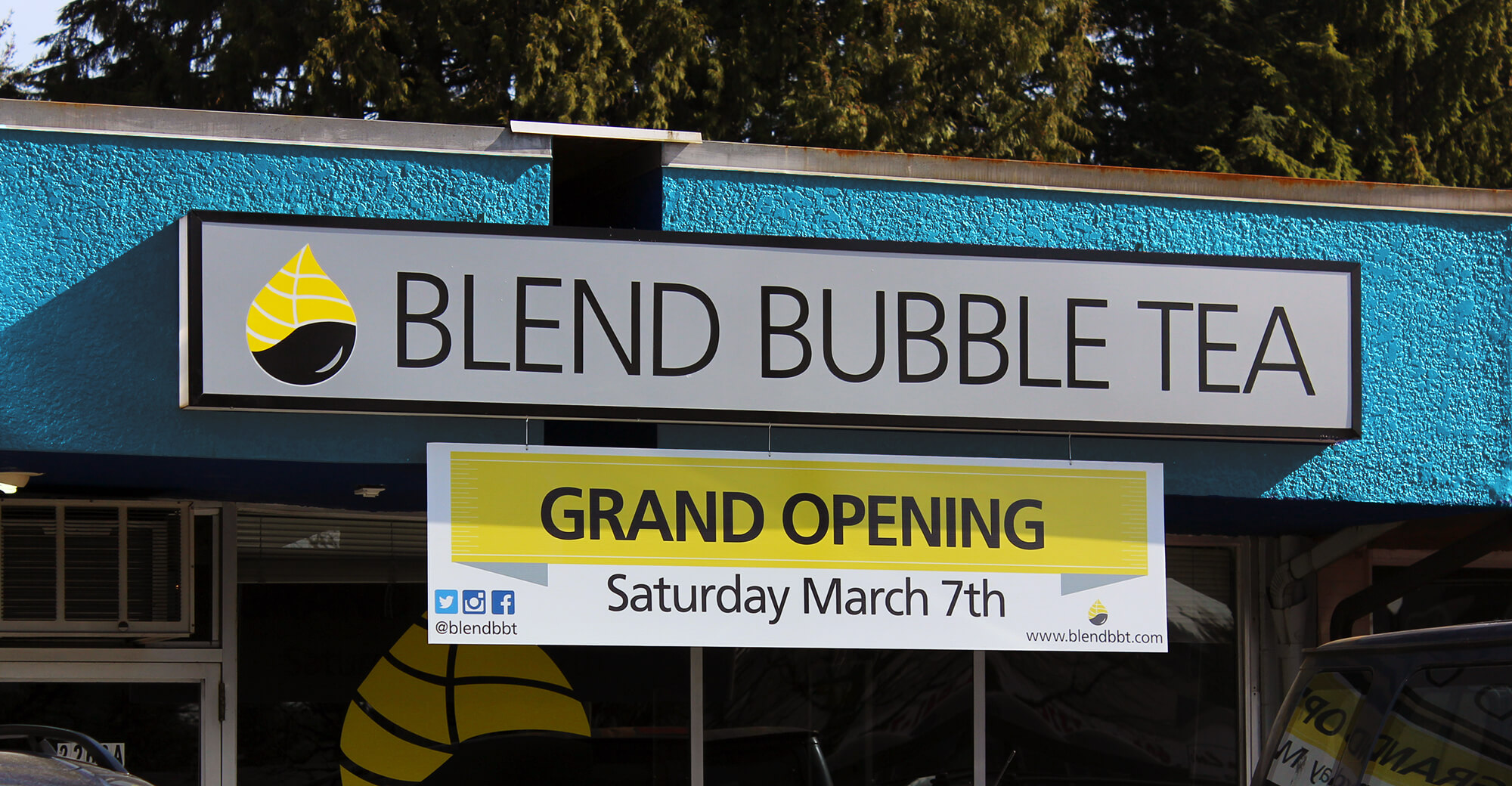 Blend Bubble Tea Grand Opening Signage