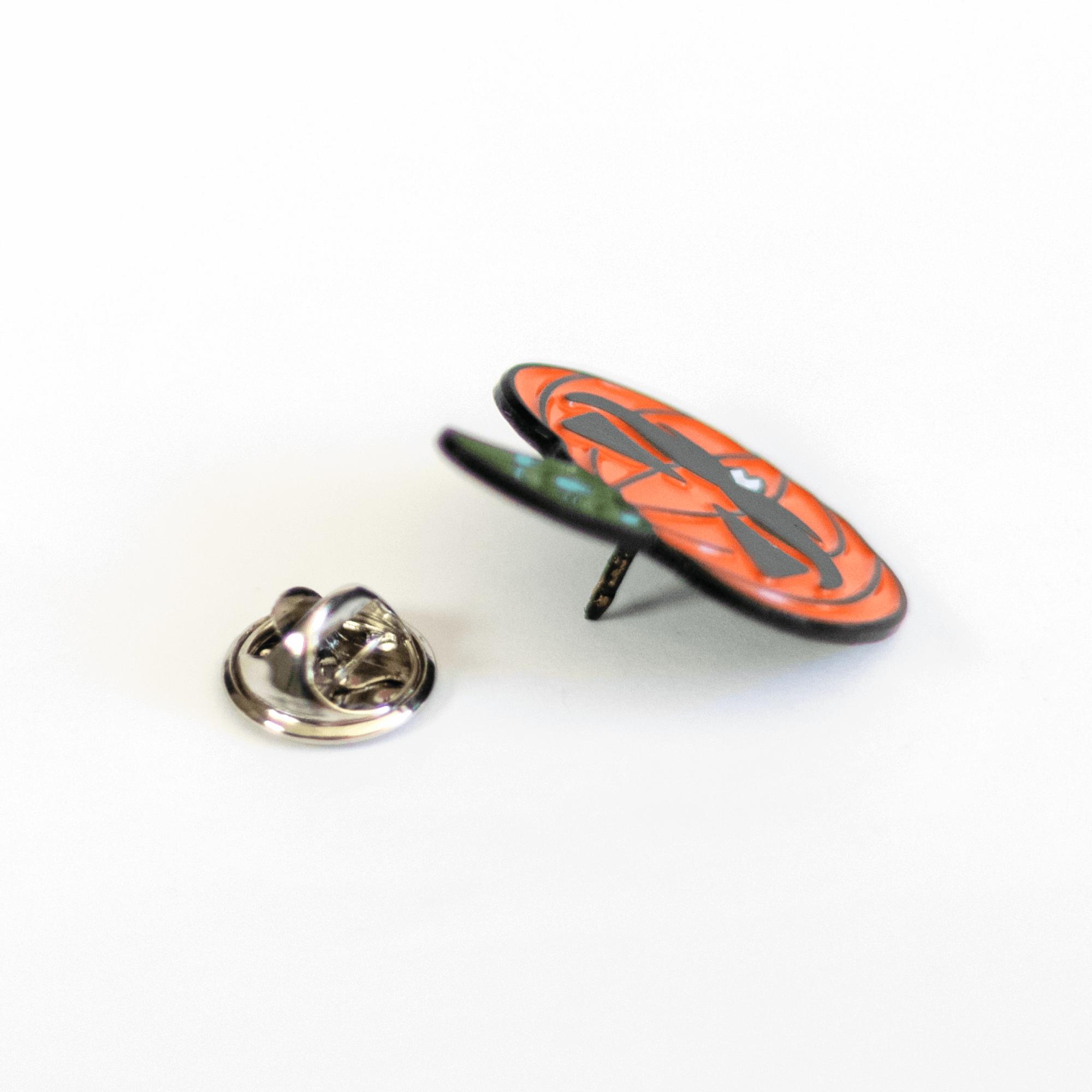 Butterfly Clutch and Pumpkin Moustache Man Pin