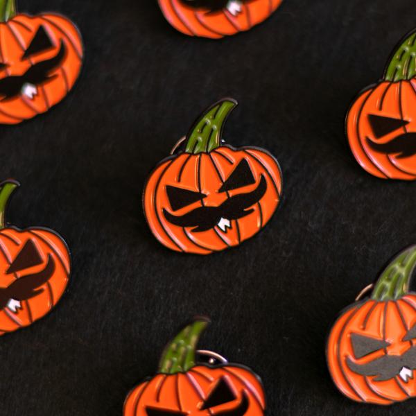 Pumpkin Moustache Pin (Pattern - Black BG)
