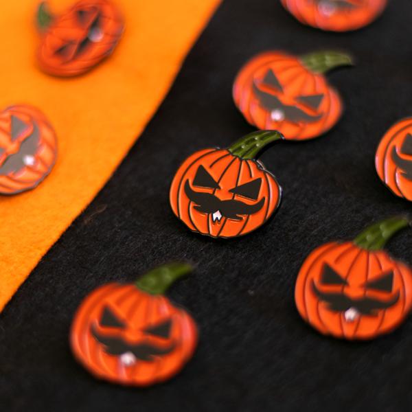 Pumpkin Moustache Pin (Pattern - Black & Orange BG)